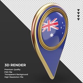 Goupille de localisation 3d drapeau australie rendu vue gauche