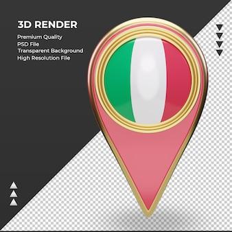 La goupille de localisation 3d drapeau italie rendu vue de face