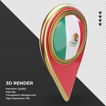 Goupille de localisation 3d drapeau mexique rendu vue de gauche