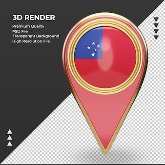 La goupille de localisation 3d drapeau samoa rendu vue de face