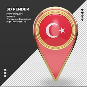 La goupille de localisation 3d drapeau turquie rendu vue de face