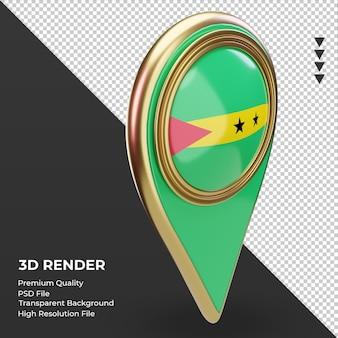 La goupille de localisation 3d du drapeau de sao tomé-et-principe rend la vue de gauche