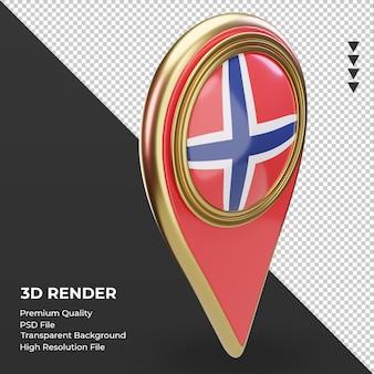 La goupille de localisation 3d du rendu du drapeau de la norvège vue de gauche