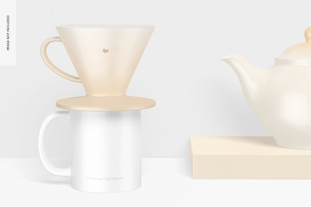 Goutteur à café avec maquette de théière
