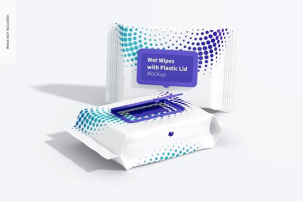 Grand emballage de lingettes humides avec maquette de couvercle en plastique, perspective