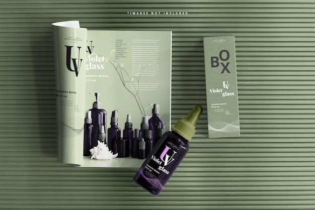 Grand flacon compte-gouttes en verre uv avec maquette de magazine