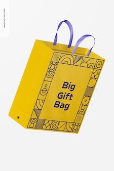 Grand sac-cadeau avec maquette de poignée en ruban