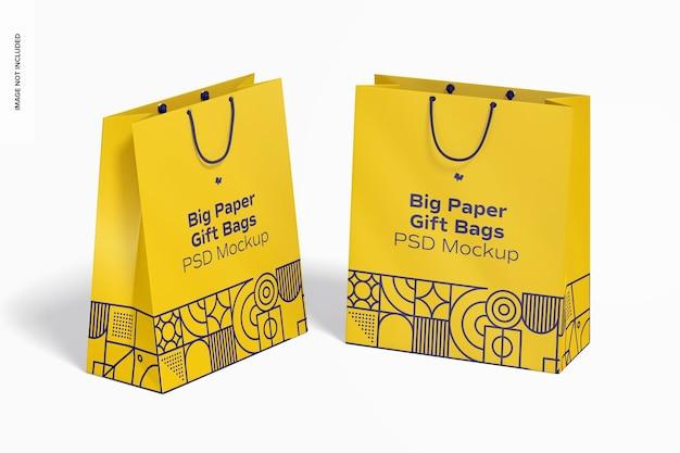Grand sac-cadeau en papier avec maquette de poignée de corde, vue en perspective