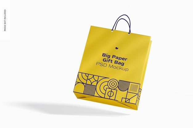 Grand sac-cadeau en papier avec maquette de poignée en corde