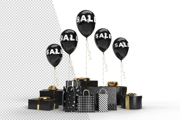 Grande conception de bannière de vente à prix réduit avec sac à provisions en ballon et éléments de conception de cadeaux. modèle pour les annonces promotionnelles, publicitaires, web, sociales et de mode. rendu 3d
