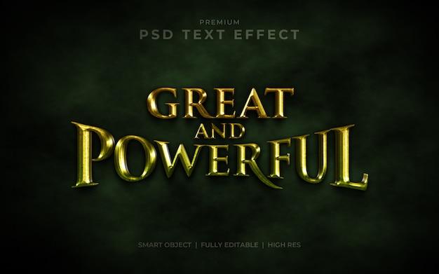 Grande et puissante maquette d'effet de texte psd