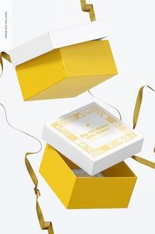 Grandes boîtes-cadeaux avec maquette de ruban, tombant