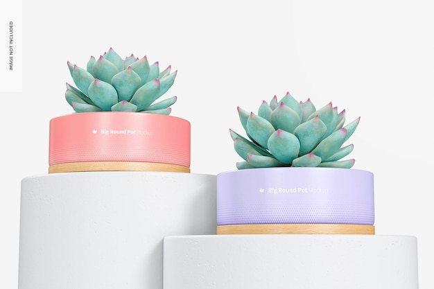 Grands pots ronds avec maquette de plateau en bambou, los angle view
