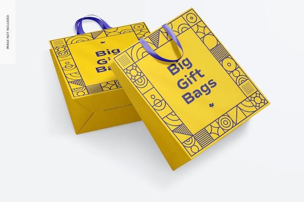 Grands sacs-cadeaux avec maquette de poignée en ruban