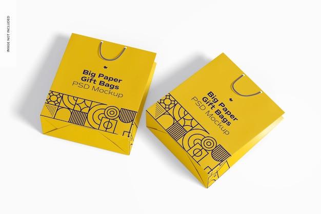 Grands sacs-cadeaux en papier avec maquette de poignée en corde, vue de dessus