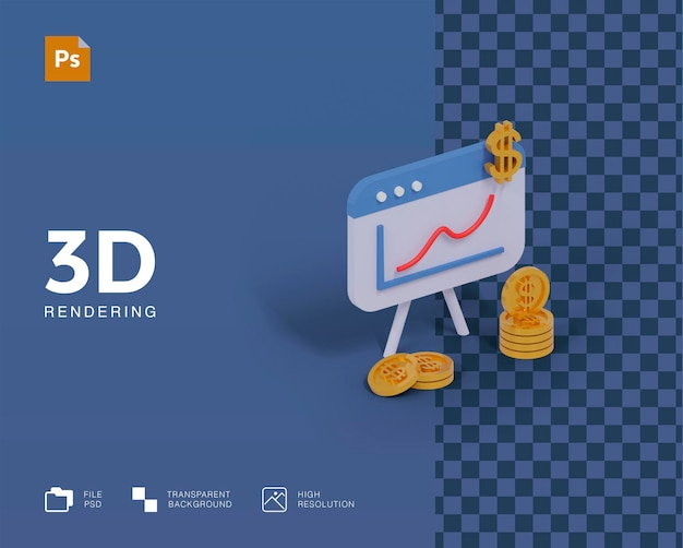 Graphique d'illustration 3d avec des pièces de monnaie