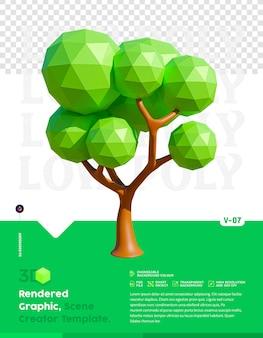 Graphique de rendu 3d low poly tree