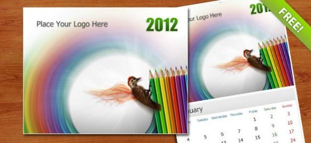 Gratuit psd wall calendar 2012