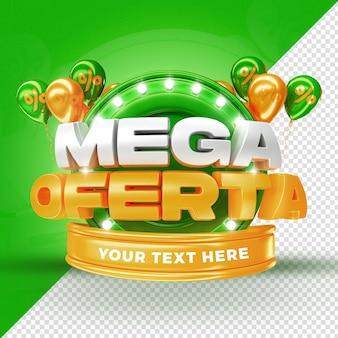 Green mega offer label promotion ballons 3d render pour la composition