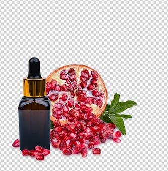 Grenade dans une bouteille de sérum ambré avec des feuilles fraîches isolées sur fond blanc premium psd.