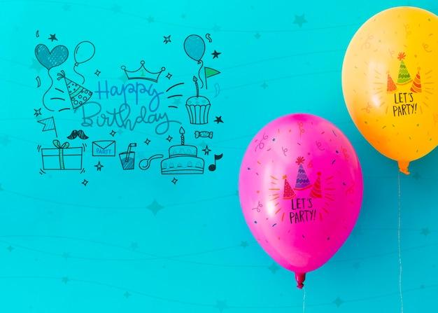 Gribouillis de fête avec des confettis et des ballons