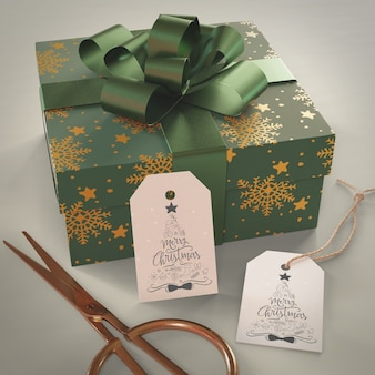 Gros cadeau enveloppé de papier vert