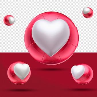 Gros plan sur 3d coeur comme boule rouge