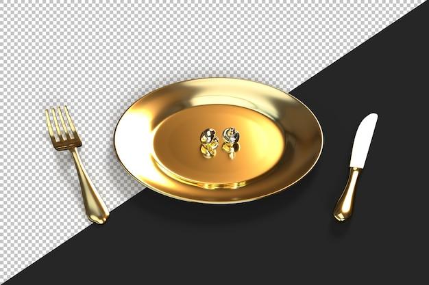 Gros plan d'une assiette dorée avec deux champignons