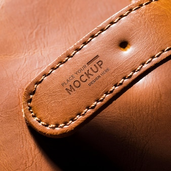 Gros plan, de, bracelet cuir marron