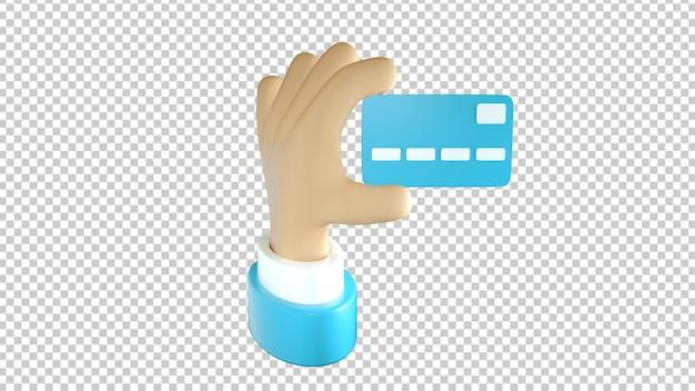 Gros plan sur la carte de crédit bleue tenue à la main isolé dans le rendu 3d