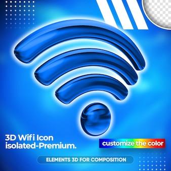 Gros plan sur la conception de rendu 3d de réseau wifi