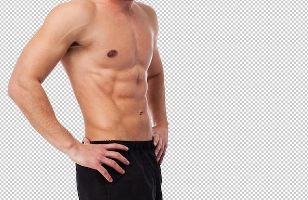 Gros plan d'un corps de fitness fort sur blanc