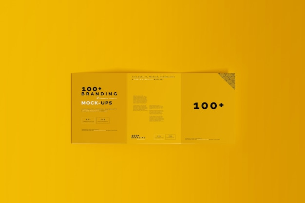 Gros plan sur l'emballage de la maquette de la brochure en trois volets
