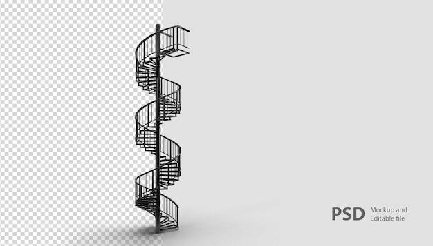 Gros plan sur l'escalier en colimaçon en rendu 3d isolé