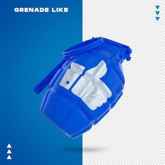 Gros plan sur la grenade comme dans le rendu 3d