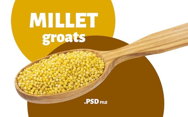 Gros plan sur les gruaux de millet isolés
