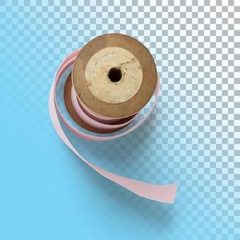 Gros plan isolé du ruban rose de la bobine