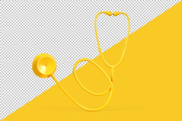 Gros plan, de, jaune, stéthoscope, isolé
