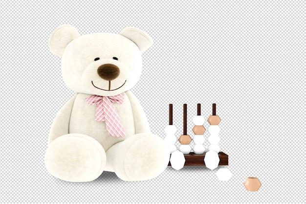 Gros plan sur les jouets pour enfants en rendu 3d isolé