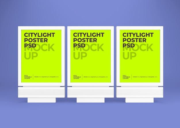 Gros plan sur la maquette d'affiche citylight isolée