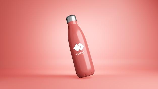 Gros plan sur la maquette de bouteille corporative en plastique