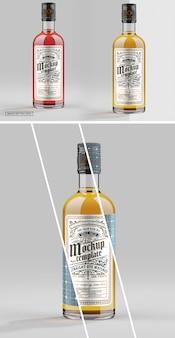 Gros plan sur la maquette de bouteille en verre de whisky
