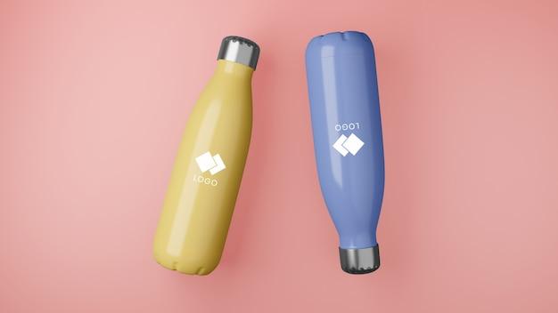 Gros plan sur la maquette de bouteilles corporatives en plastique