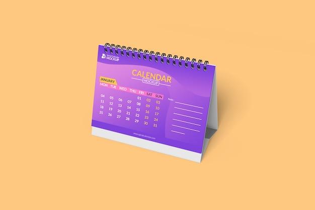 Gros plan sur la maquette de calendrier de bureau en spirale