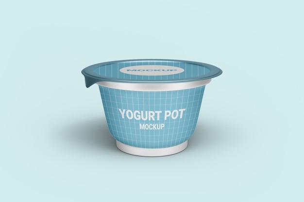 Gros plan sur la maquette d'emballage de yaourt