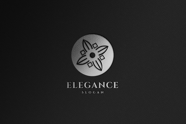 Gros plan sur la maquette de logo argent de luxe