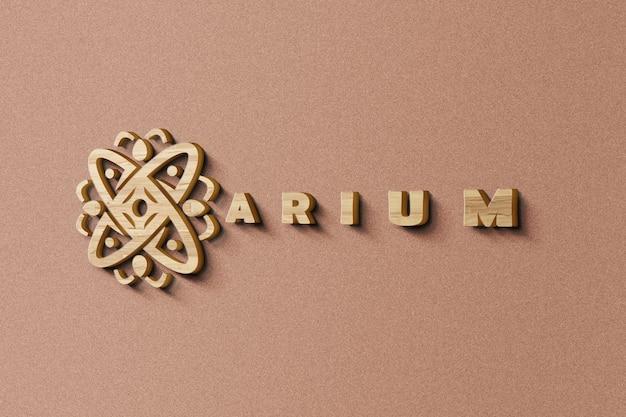 Gros plan sur la maquette de logo dans la texture du bois 3d