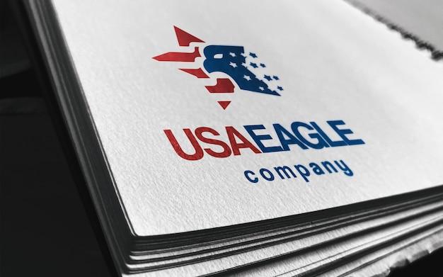 Gros plan maquette de logo papier perspective