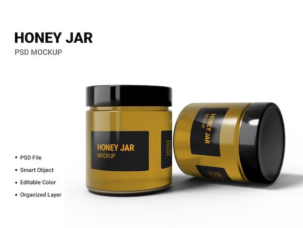 Gros plan sur la maquette de pot de miel isolé