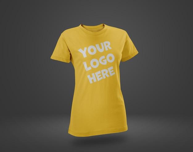 Gros plan sur la maquette de t-shirt jaune isolé